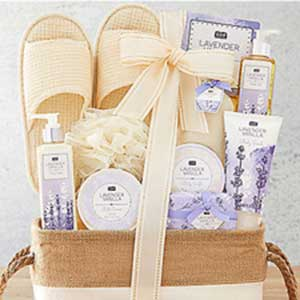 Buy her the day off spa gift basket for this anniversary gift
