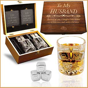 Buy him the personalized whiskry glass set for this anniversary gift