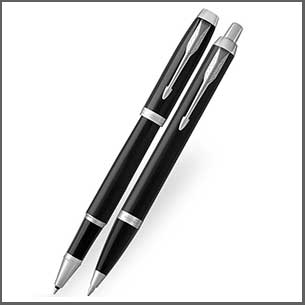 Buy him the Parker IM Black Chrome Trim Fountain Pen and Ball Pen Set for this anniversary gift