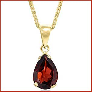 Buy her this 14K Gold Natural Garnet Necklace for this anniversary gift