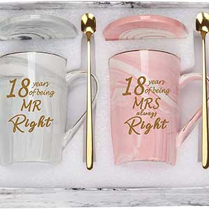 Buy them these 18th Wedding Anniversary Mugs for this years gift