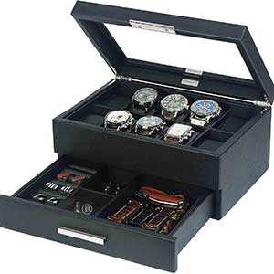 Buy him the Leather Watch & Jewelry Box Organizer for this anniversary gift
