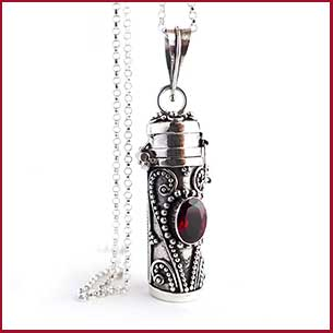 Buy her the Red Garnet Tube Locket Sterling Silver Pendant for this anniversary gift