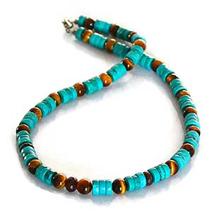 Buy him the Tribal Surfer Turquoise & Garnet Necklace for this anniversary gift